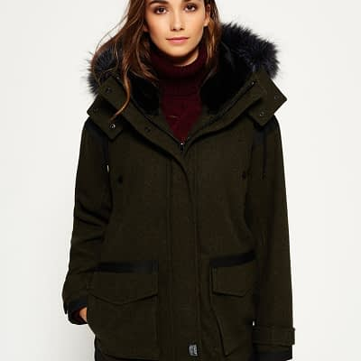 LBASUP15_SUPERDRY_Women's_Fjord_Ovoid_Parka_Khaki_Front