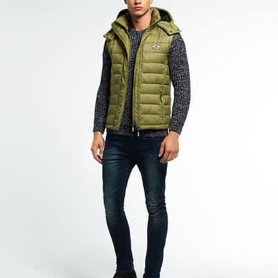 LBASUP29_SUPERDRY_Men's_Fuji_Double_Zip_Hooded_Vest_Green_Side